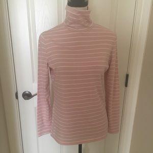 LARGE Merona Pink/White Stripe Turtleneck Top